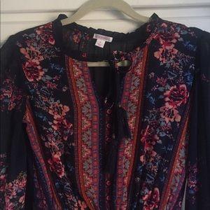 Xhilaration Dresses Navy Floral Target Long Sleeve Maxi Dress